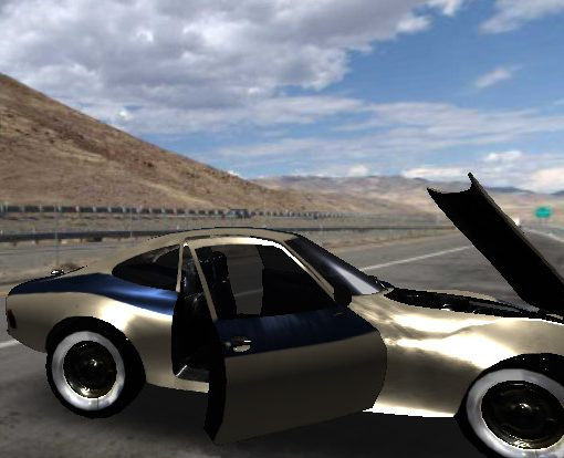Screenshot of interactive 3D scene containing an animated model of an Opel at a Nevada pull-out